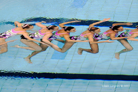 The Italian team underwater during their routine at the 2011 European Synchro Champions Cup at the Ponds Forge International Sports Centre.