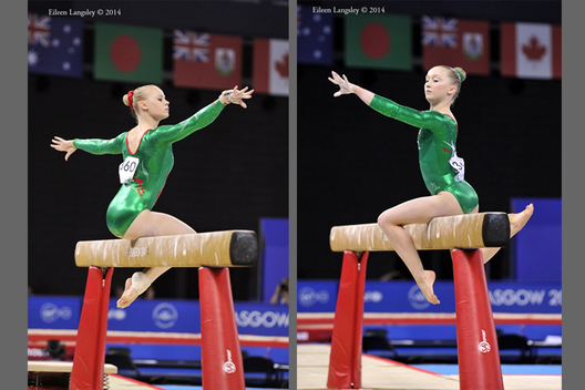 Elizabeth Beddoe and Georgina Hockenhull (Wales) competing on Beam at the Gymnastics competition of the 2014 Glasgow Commonwealth Games.