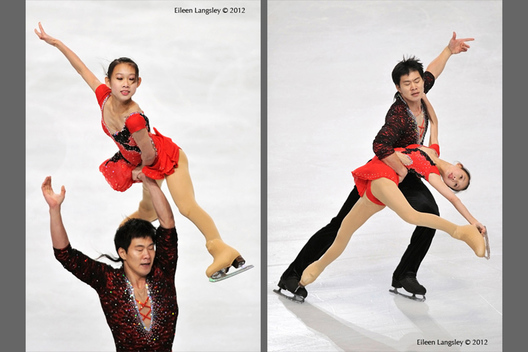Cheng Peng and Hao Zhang (China) competing in the Paurs event at the 2012 ISU Grand Prix Trophy Eric Bompard at the Palais Omnisports Bercy
