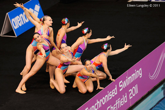 The Swiss team at the start of their routine at the 2011 European Synchro Champions Cup at the Ponds Forge International Sports Centre.
