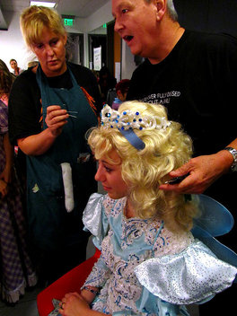 "Laura Harris gets her wig adjusted before going on stage for her role as the Blue Fairy ""My Son Pinocchio, Geppettos Musical Tale."""