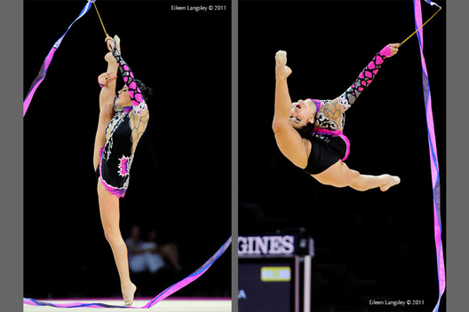 Julie Zetlin (USA) competing with Ribbon at the World Rhythmic Gymnastics Championships in Montpellier.
