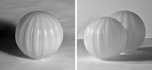 "Recreation of historical ribbed globes for Alberta Legislature. 8,10, 12, 14"" diameters"