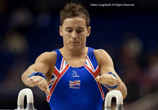 A portrait image of Daniel Keatings (Great Britain) about to compete on Pommel Horse at 2009 London World Artistic Gymnastics Championships at the 02 arena.