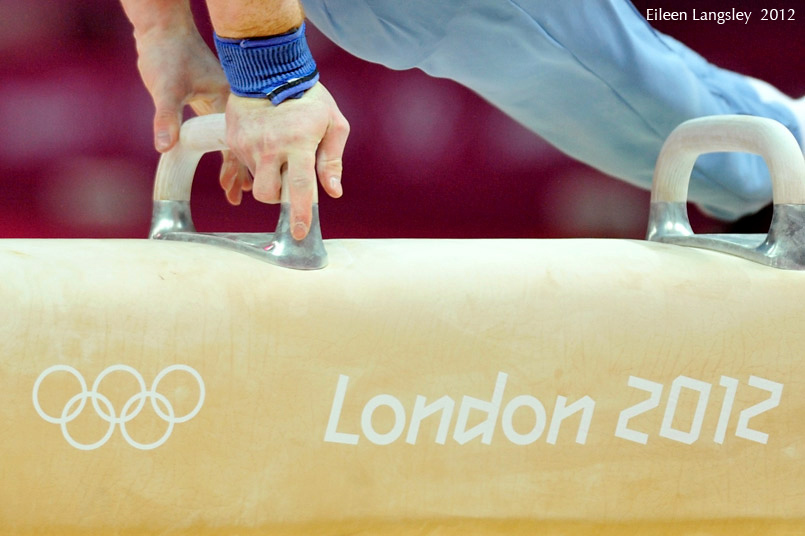 A generic image of the fingers of a gymnast competing on Pommel Horse during the Artistic Gymnastics competition of the London 2012 Olympic Games.