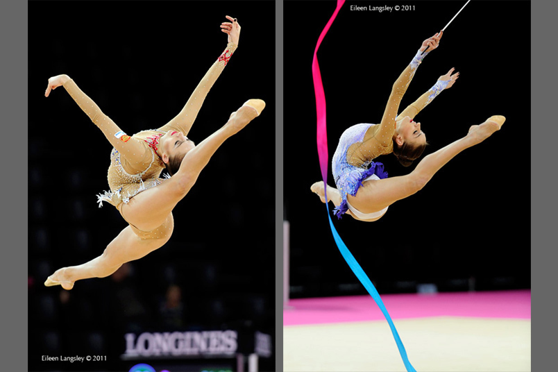 Evgenia Kanaeva (Russia) competing with Ball and Ribbon at the World Rhythmic Gymnastics Championships in Montpellier.