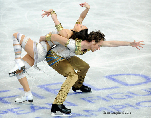 Nathalie Pechalat and Fabian Bourzat competing in the ice dance event at the 2012 European Figure Skating Championships at the Motorpoint Arena in Sheffield UK January 23rd to 29th.