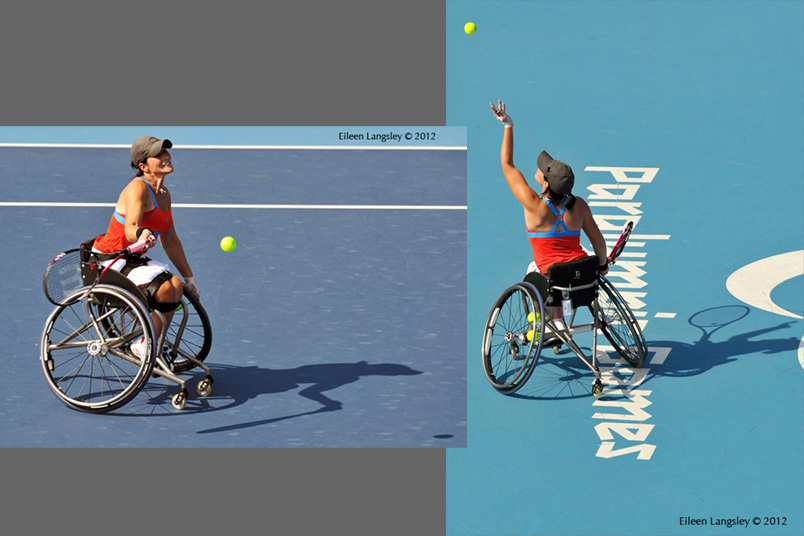 singles match in the women's wheelchair Tennis competition at the 2012 London Paralympic Games.