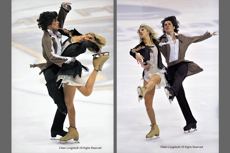 A double image of Ice Dancers John and Sinead Kerr (Murrayfield) competing at the 2008 British Figure Skating Championships in Nottingham.