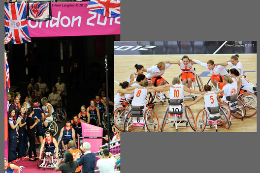 The British women's team enter the arena and the Netherlands Women's team get together at the start of their match against Great Britain in the wheelchair basketball competition at the London 2012 Paralympic Games.