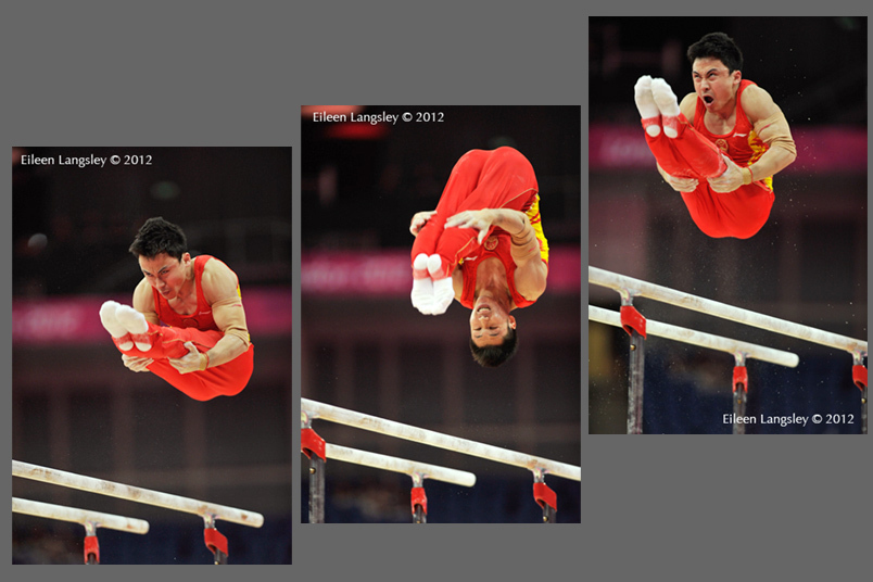 Chinese gymnasts Feng Zhe, Zhou Kai and Chen Yibing demonstrate double pike dismounts from Parallel Bars at the Gymnastics competition of the London 2012 Olympic Games.