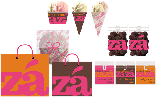 Brand identity for packaging for a luxury gelato company. Client : Zaza