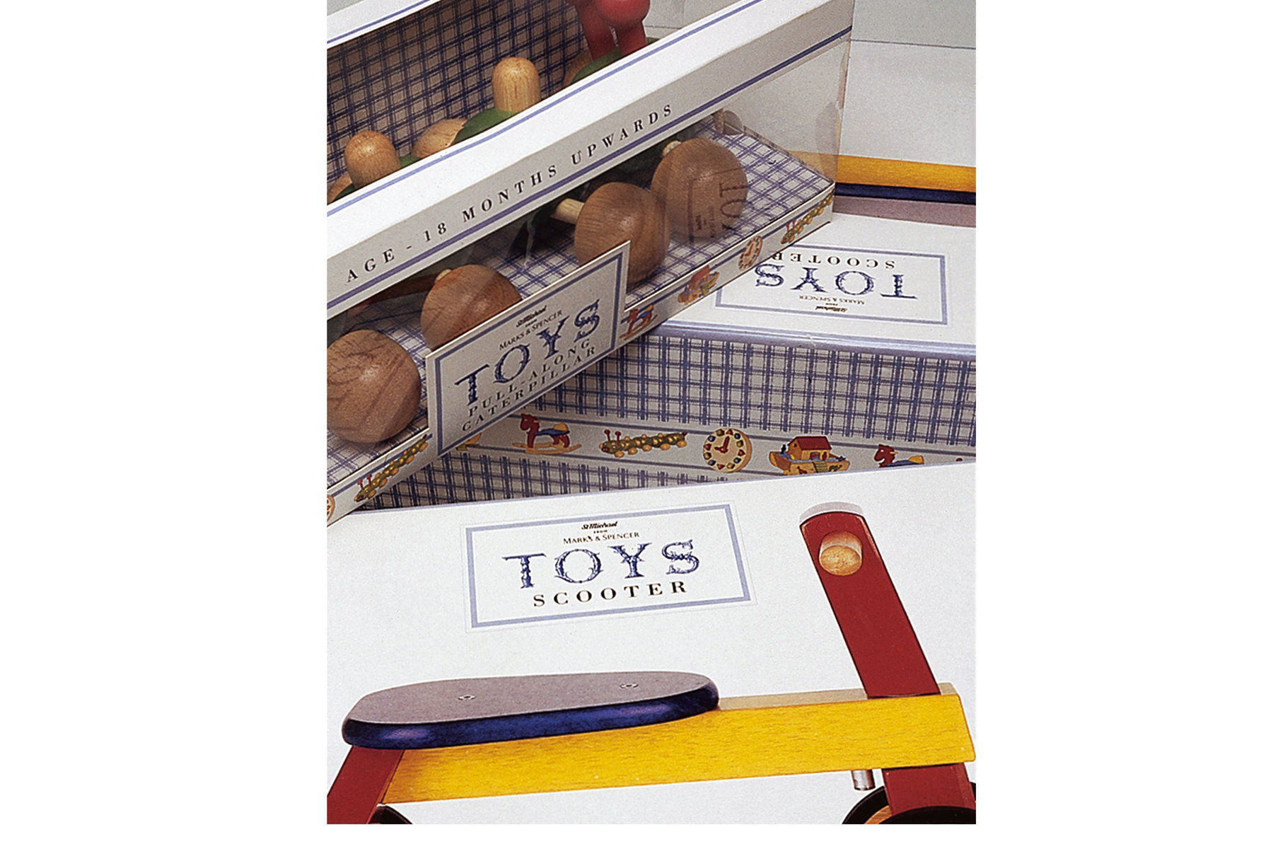 Packaging design for a range of traditional wooden toys.