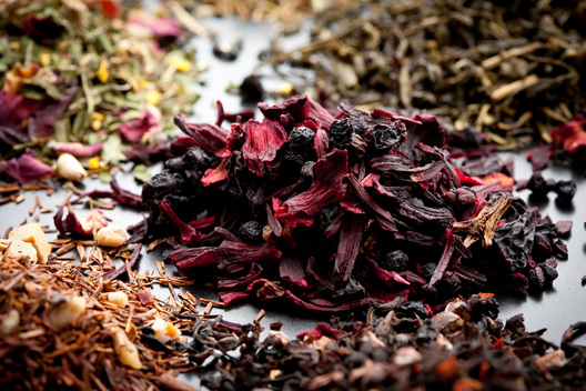 assortment of loos leaf teas on a platter Food photography by Chad Jackson