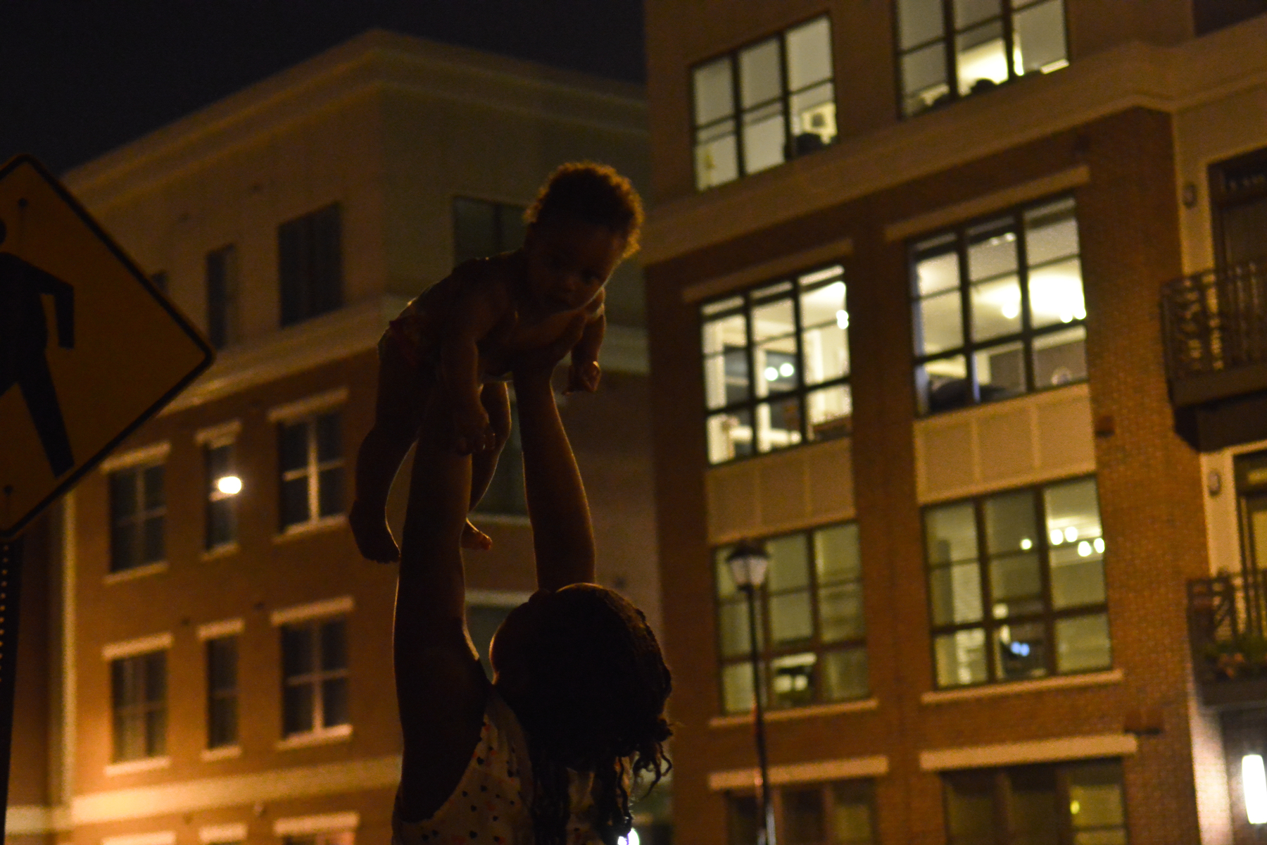 Flying baby outside of the new condos.