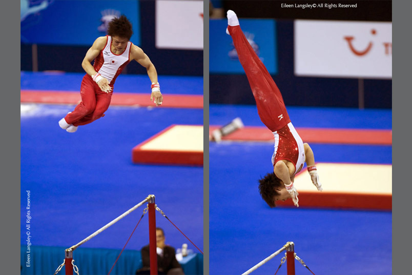 Kohei Uchimura (Japan) on High Bar at the 2009 London World Artistic Gymnastics Championships at thr 02 Arena.