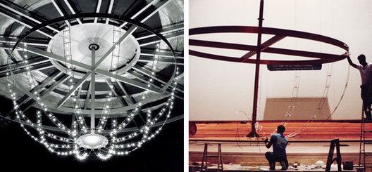 5 metre diameter custom stainless steel rod, low voltage halogen chandelier with winch lowering & remote transformers