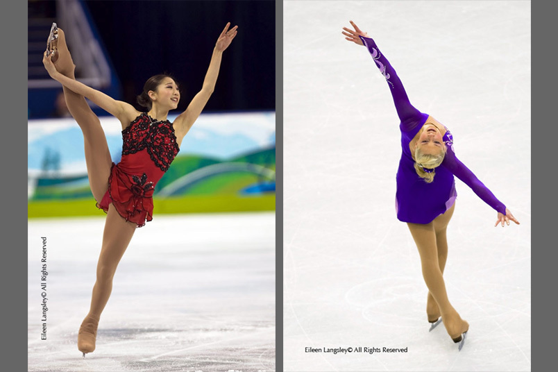 Mirai Nagasu (USA) left and Ksenia Makarova (Russia) right, show expression and artistry during their competitive routines,