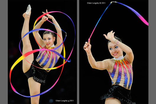 Simone Luiz (Brazil) competing with Ribbon at the World Rhythmic Gymnastics Championships in Montpellier.