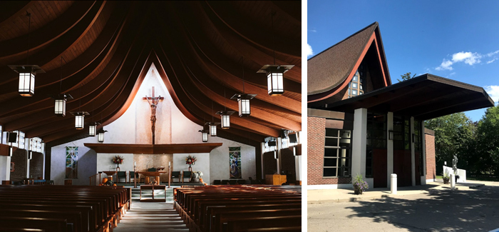Custom design and manufactured prairie style church lighting pendants of bronze painted steel and opal acrylic
