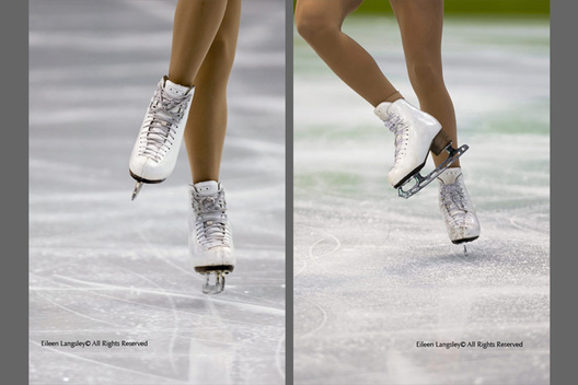 Two generic cropped images of the skating boots and feet of a female skater competing in the 2010 Winter Olympic Games in Vancouver.