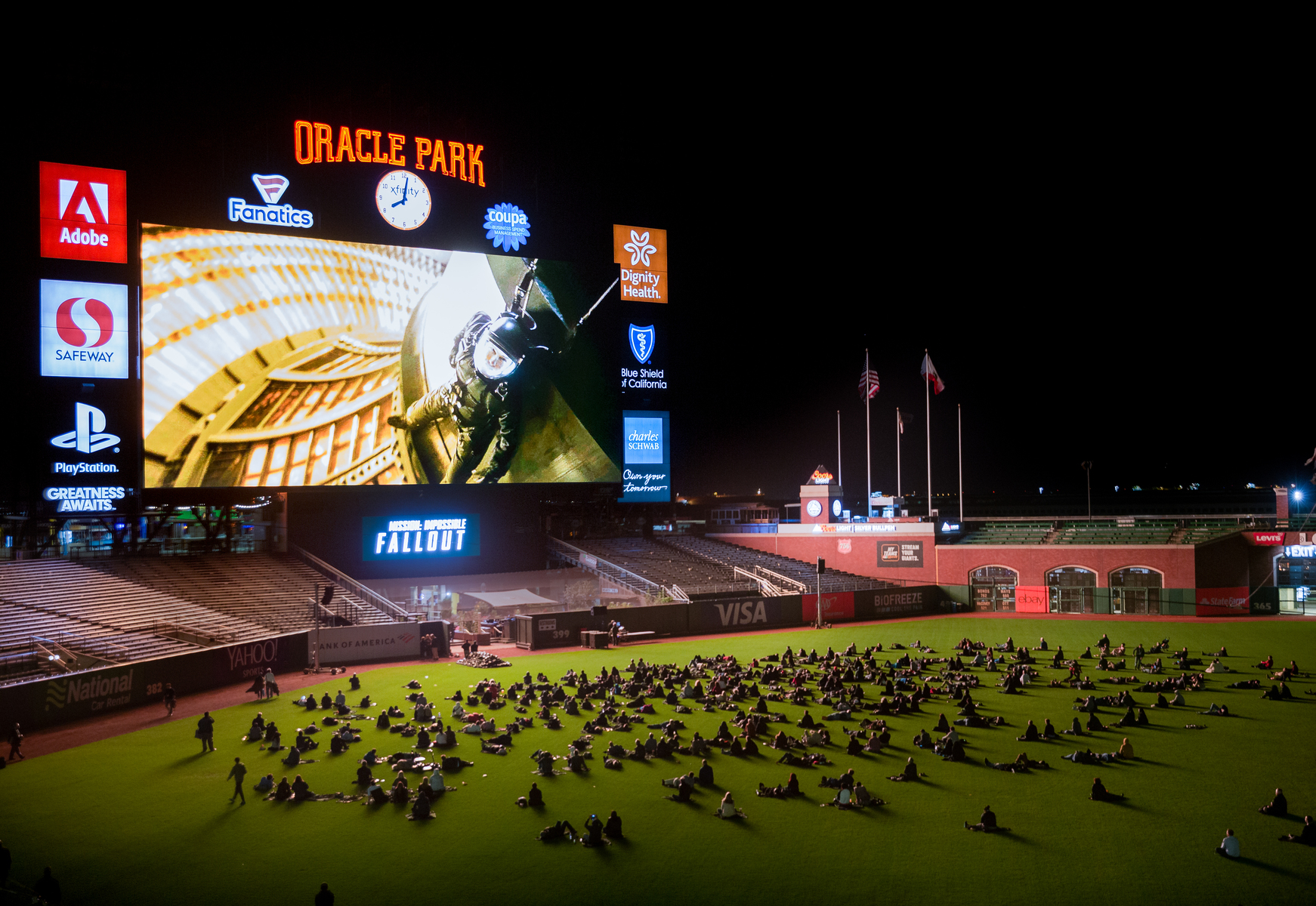San Francisco Giants Oracle Park Movie Night.  Oracle Park is the home to the San Francisco Giants but they also host amazing events, but public and private events.  This photo is from their ongoing movie nights open to the public.  They played Mission Impossible with Tom Cruise on their giant 20 million dollar LED display.  Largest of any Ball Park in the US.