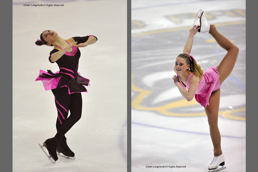 A double image of British Junior ladies Katie Powell Sheffield left and Charlotte Robbins USA right, competing in the 2009 British Figure Skating Championships in Nottingham.