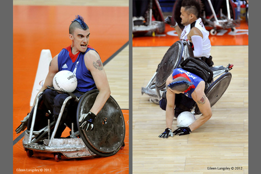 Britain's david Anthony plays aggressively and then take a tumble during theirWheelchair Rugby matcheagainst Japan at the London 2012 Paralympic Games.