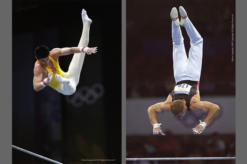 A double image of gymnasts Huang Liping (China) left and Alexei Nemov (Russia) right, competing on the High Bar at the 1996 Atlanta Olympic Games and the 2000 Sydney Olympic Games respectively.
