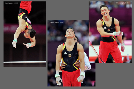 Marcel Nguyen (Germany) winner of the silver medal in the men's all around competition in action and celebrating at the 2012 London Olympic Games.