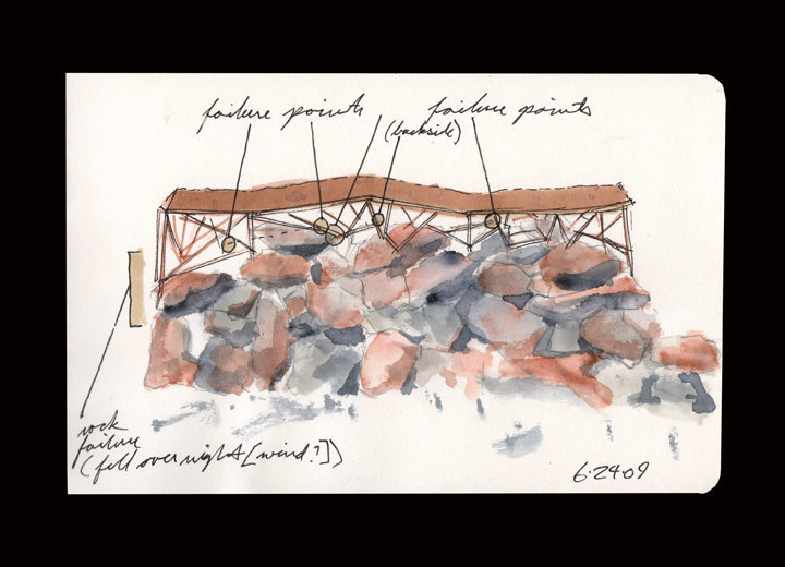 """East/ West Pyre for Mihai"" was built as a meditation on the life of a friend and mentor using the unrelenting conditions of the desert as a vehicle for the work's slow demise and the inevitability of life's failure. The work had three stages: conception, construction and failure. This drawing indicated exactly where the structure of the work failed due to weight, heat and wind. In the end, the work was built to fail; any and all metaphors are welcomed