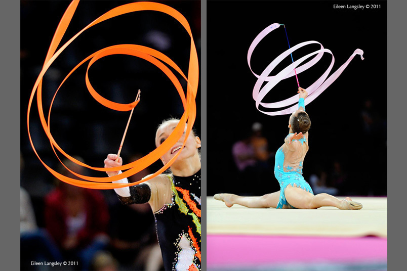 A generic image of gymnasts creating spiral patterns with their Ribbons while competing at the World Rhythmic Gymnastics Championships in Montpellier.
