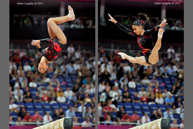 Ana Porras Gomez (Guatemala) competing on balance beam at the Gymnastics competition of the London 2012 Olympic Games.