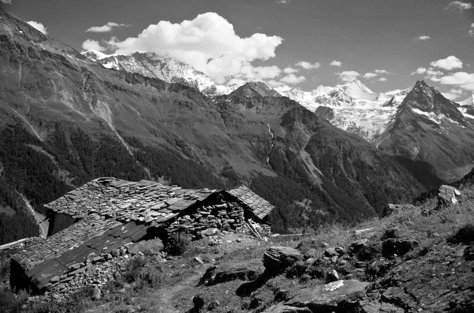 An abandoned mountain hut on the Haute Route