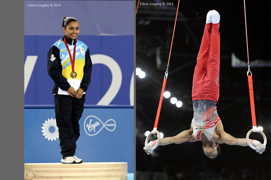 India's Dipa Karmakar ins the country's first ever medal and Rakesh Patra competes on Rings at the Gymnastics competition of the 2014 Glasgow Commonwealth Games.
