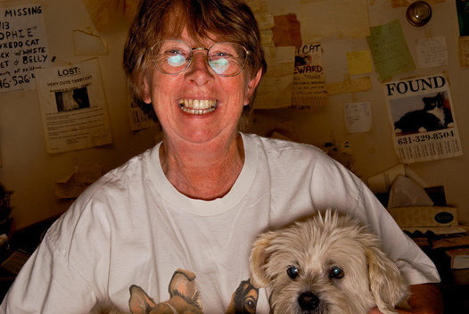 Pat Lillis, at her home office, has spent the last 17 years in the Hamptons helping to find and care for lost pets.