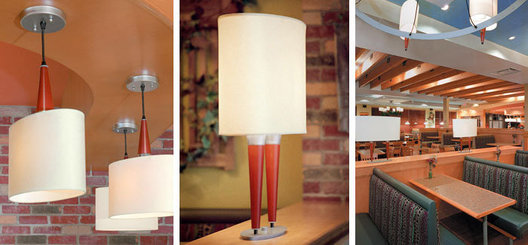 Oval hardback lampshade, turned wood and steel chandeliers, matching single bar pendants and fixed table lamps