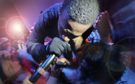 Awesome wide angle photo of GZA performing live