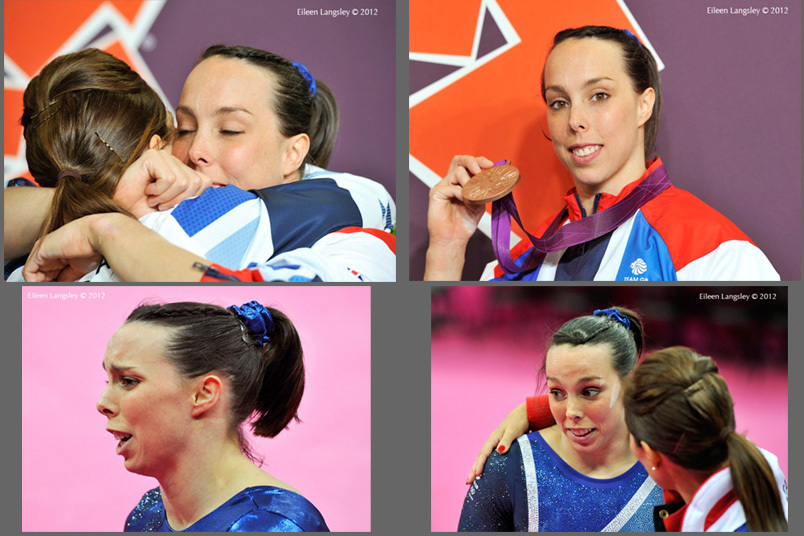 The roller coaster of emotions experienced by Beth Tweddle (Great Britain) and her coach Amanda Reddin during her challenge to win a medal in the Asymmetric Bars finals of the womens competition of the Gymnastics event at the 2012 London Olympic Games.