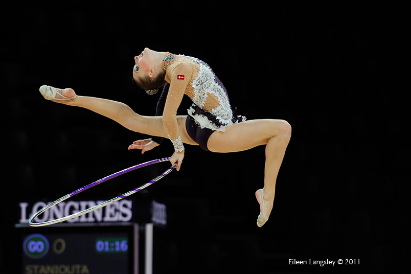 Melitina Staniouta (Belarus) competing with Hoop at the World Rhythmic Gymnastics Championships in Montpellier.