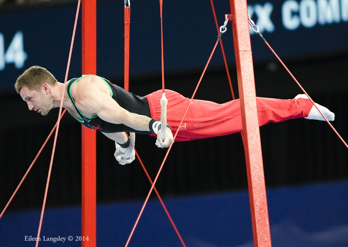 Clinton Purnell (Wales) competing on Rings at the 2014 Glasgow Commonwealth Games.