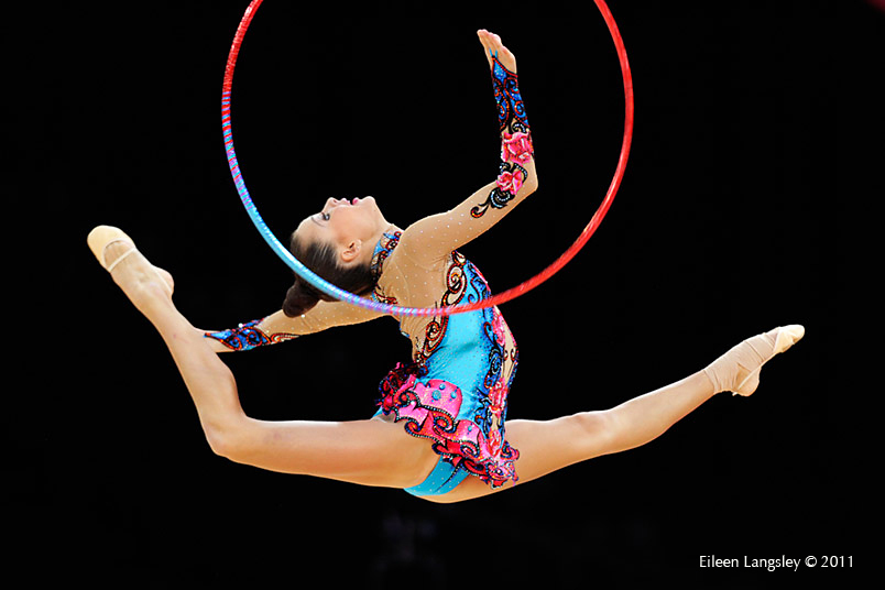 Ulyana Trofimova (Uzbekhistan) competing with Hoop at the World Rhythmic Gymnastics Championships in Montpellier.