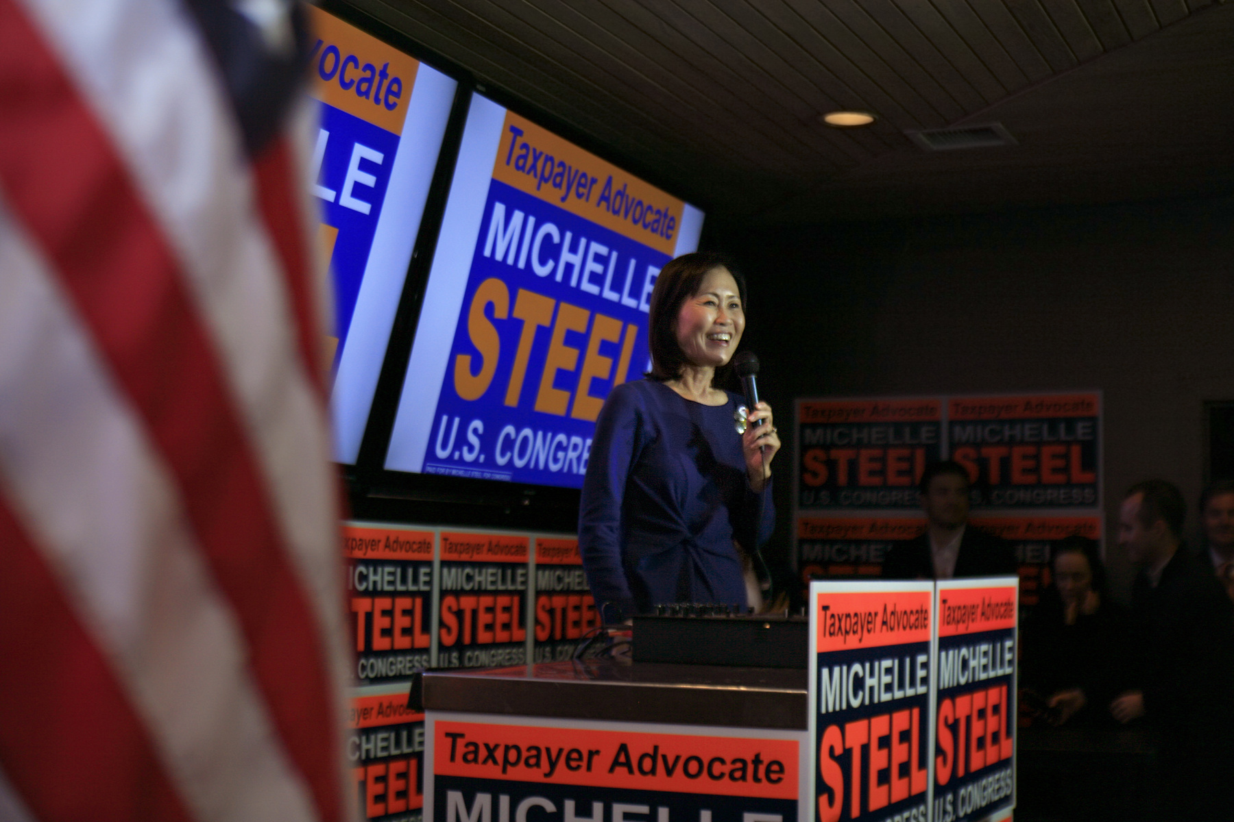 Orange County Supervisor and 48th Congressional District candidate, Michelle Steel, speaks at a Republican Party of Orange County event at CP Restaurant in Newport Beach.