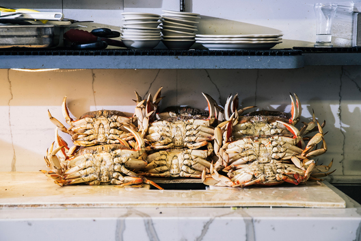 Cooked whole crabs occupy a section of the counter at Swan Oyster Depot in San Francisco, Calif. on Tuesday, April 2, 2019.