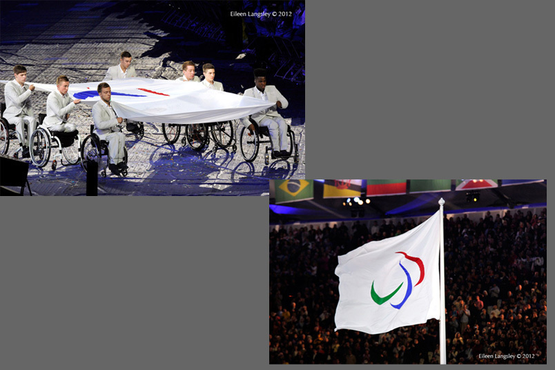 Carried by members of the British Under 21 Basketball team the Paralympic flag is brought into the arena and is then raised during the Opening Ceremony of the London 2012 Paralympic Games.