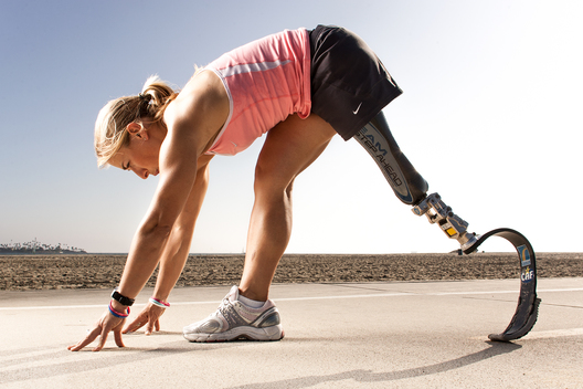 Paralympian Sarah Reinertsen photographed near Long Beach, California for Nike's 'The Human Race' project.
