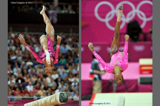 Gabrielle Douglas (USA) performs a layout back somersault on Balance Beam during the Artistic Gymnastics competition of the London 2012 Olympic Games.