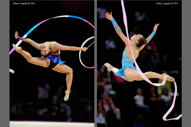 Mimi Cesar and Keziah Gore (Both Great Britain) competing at the World Rhythmic Gymnastics Championships in Montpellier.