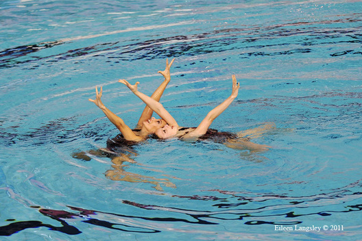 Olivia Allison and Jenna Randall (Great Britain) compete in the duet section of the European Synchro Champions Cup at Ponds Forge Sheffield, may 2011.