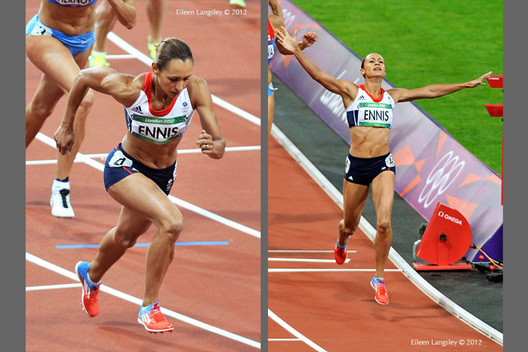 Jessica Ennis (Great Britain) wins the 800 metres the final event in the Heptathlon at the 2012 London Olympic Games.